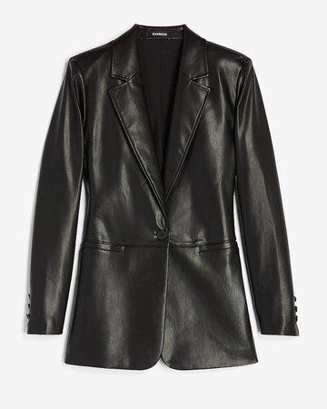 Vegan Leather One Button Long Sleeve Blazer | Express