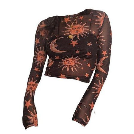 black orange sheer sun print top png mood