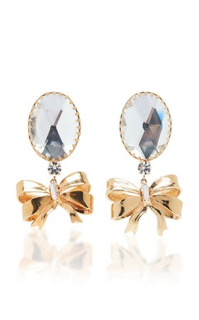 Bow And Crystal Earrings by Alessandra Rich | Moda Operandi