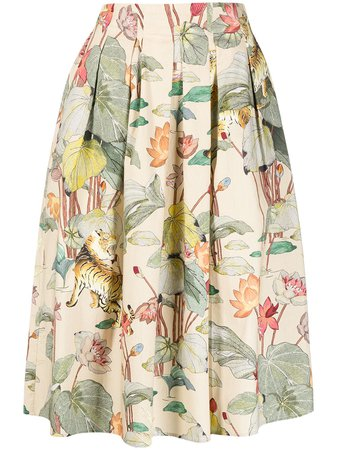 Shop Etro floral-print pleated skirt with Express Delivery - Farfetch