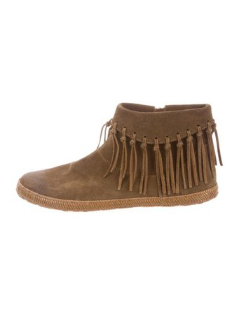UGG Australia Fringe-Trimmed Suede Ankle Boots - Shoes - WUUGG31498 | The RealReal