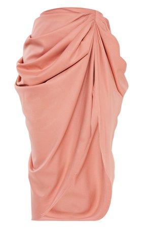 Peach Ruched Side Midi Skirt | PrettyLittleThing USA