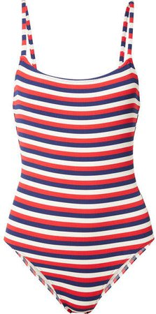 The Nina Striped Ribbed Stretch-knit Swimsuit - Navy