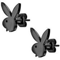 Black Playboy Bunny Stud Earrings