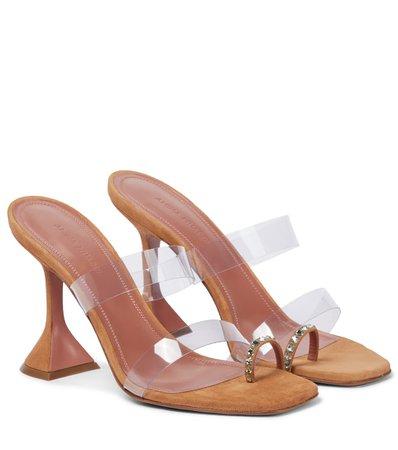 Amina Muaddi - Sami suede and PVC sandals | Mytheresa