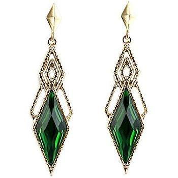 Vintage Style Beautiful Gold & Dark Green Long Drop Stud Evening Earrings E960: Amazon.co.uk: Jewellery