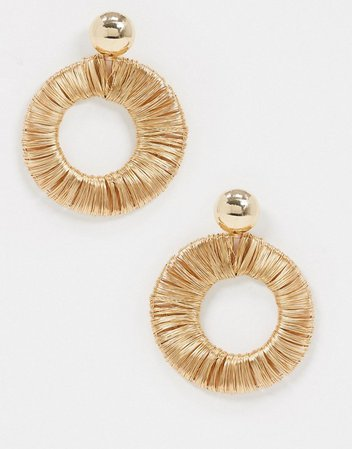ASOS DESIGN earrings with wire wrapped open drop in gold tone | ASOS
