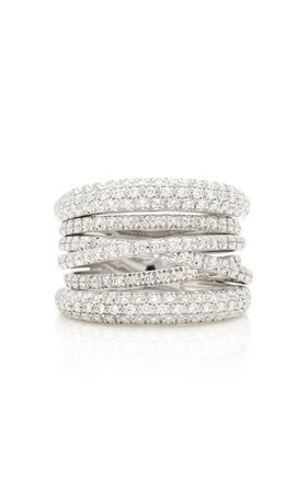 Scribble 18K White Gold And Diamond Ring by Sidney Garber | Moda Operandi
