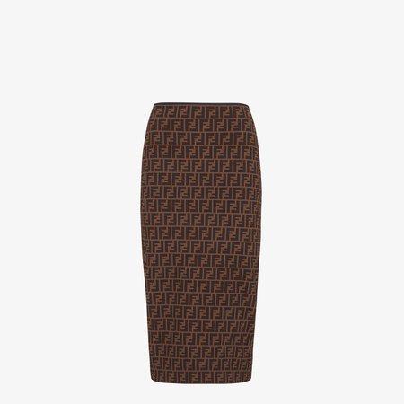 Brown micro mesh skirt - SKIRT | Fendi