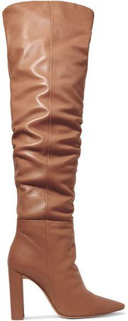 Anna Leather Knee Boots - Tan