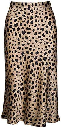 Keasmto Leopard Midi Skirt Plus Size for Women High Waist Silk Satin Elasticized Skirts at Amazon Women's Clothing store