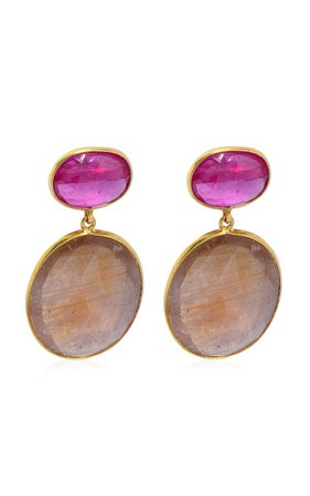 Ruby, Sapphire 18k Yellow Gold Earrings By Bahina | Moda Operandi