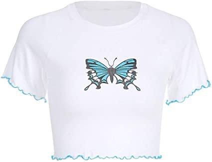 Amazon.com: Women Teen Girls Cute Planet Print Summer Cut Out Shoulder Short Sleeve Crop Tops Tee Shirts (Cat-Black, M): Clothing