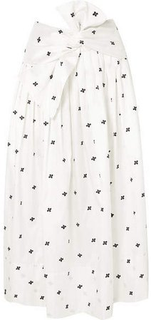 Aglae Bow-detailed Embroidered Taffeta Midi Skirt - White