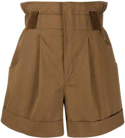 high-waisted gathered shorts