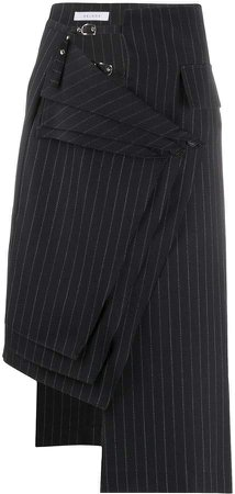 Delada Striped Asymmetric Wool Skirt