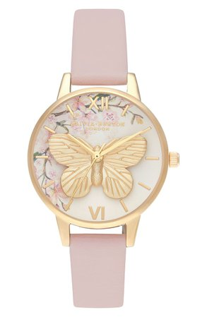 Olivia Burton Pretty Blossom Faux Leather Strap Watch, 30mm | Nordstrom
