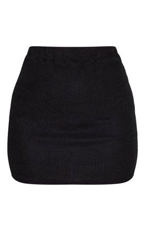 Petite Black Brushed Rib Mini Skirt | Petite | PrettyLittleThing