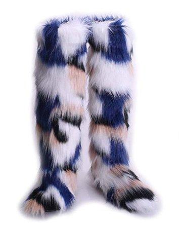Amazon.com | KoKoHouse Women's Winter Faux Fur Fluffy Furry Rainbow Knee-High Snow Boots | Shoes
