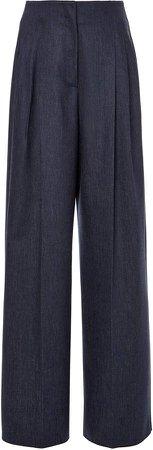 Agnona Trofeo Wool High-Rise Wide-Leg Pant