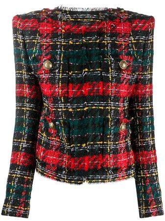 Balmain tartan bouclé tweed blazer