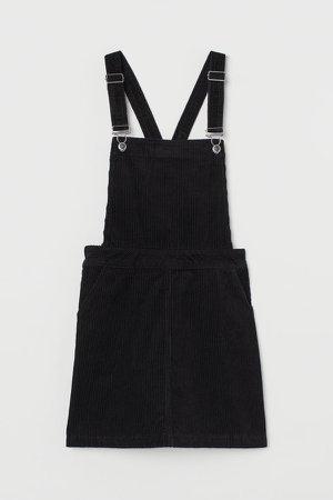 Corduroy Overall Dress - Black