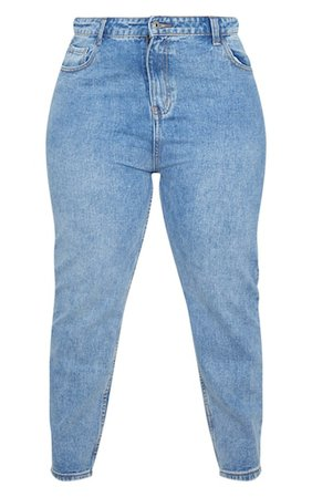Plus Mid Wash Washed Mom Jean   Plus Size   PrettyLittleThing
