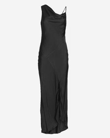Satin Draped Neck Midi Slip Dress