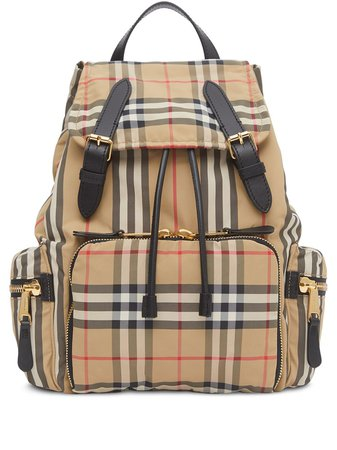 Brown Burberry Medium Vintage Check Rucksack For Women | Farfetch.com