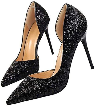 Pointed High Heel Shoes Fashion Dress Pumps Bridal Wedding Party Glitter Pump