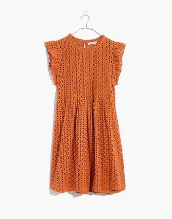 Eyelet Ruffle-Sleeve Pintuck Mini Dress
