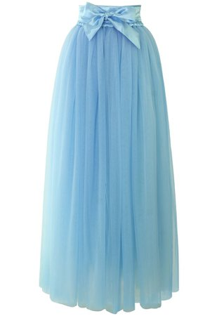 Chic Wish Amore Maxi Tulle Prom Skirt in Sky Blue - Retro, Indie and Unique Fashion