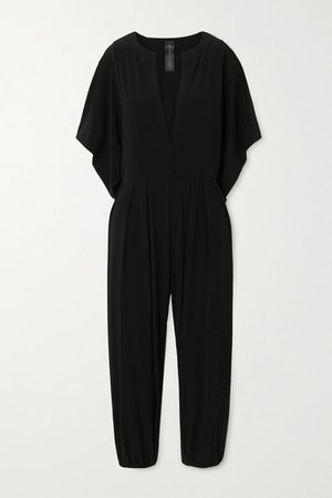 Rectangle Cropped Stretch-jersey Jumpsuit - Black