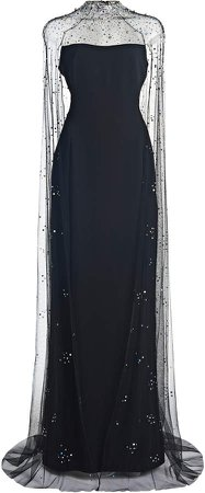 Jenny Packham Cape-Effect Crepe Gown