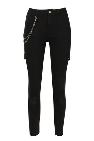 Utility Pocket Chain Detail Skinny Jean | Boohoo UK