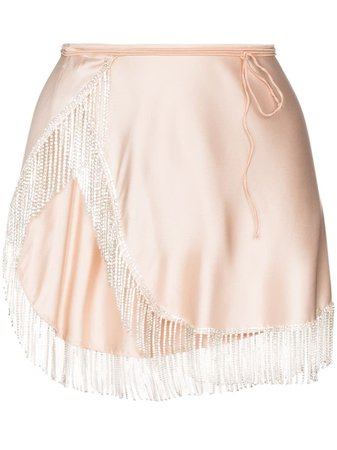 Oséree Crystal Fringe Mini Wrap Skirt - Farfetch