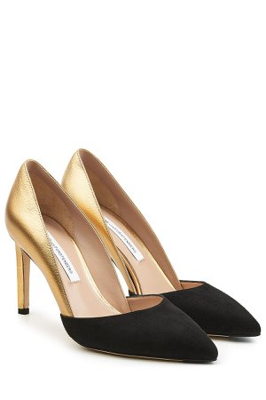 Metallic Leather and Suede Pumps Gr. US 8.5