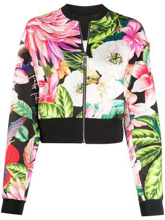 Philipp Plein Flower Print Bomber Jacket - Farfetch
