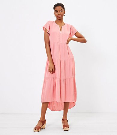 Tiered Flutter Sleeve Midi Dress
