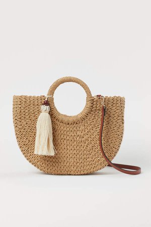 Tassel-detail Straw Shopper - Beige