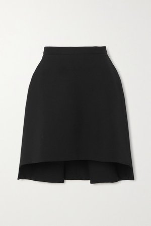 Asymmetric Wool-blend Crepe Mini Skirt - Black