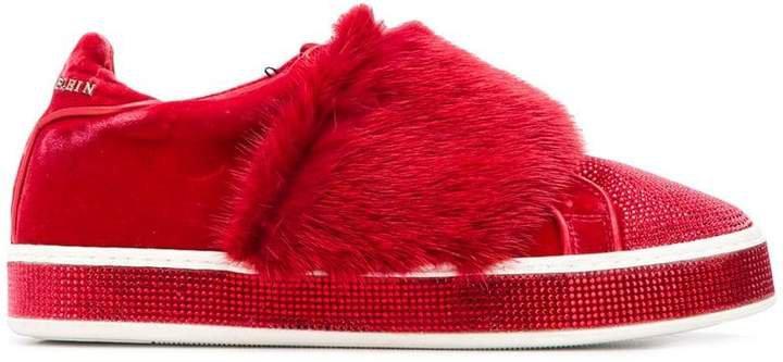 embellished velvet low top sneakers