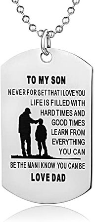 FAYERXL Father Son Dog Tags Boys Necklace for Kids Military Mens Jewelry Custom Pendant Dad to Son Love Gift… (dad to Son)   Amazon.com