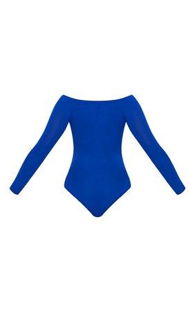 Basic Cobalt Bardot Bodysuit   Bras   PrettyLittleThing USA