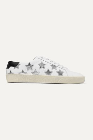 Court Classic Appliqued Metallic-trimmed Leather Sneakers - White