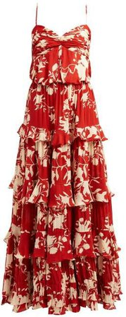 Old Garden Ruffled Floral Print Silk Gown - Womens - Red Multi