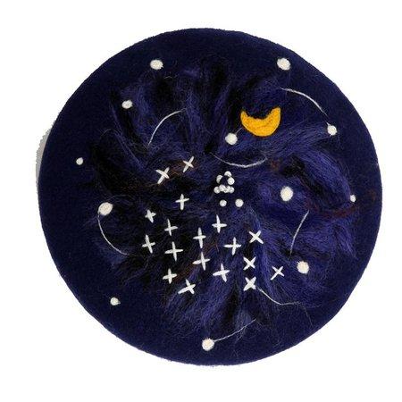 Starry Night Wool Felt Beret YV42411 | Youvimi
