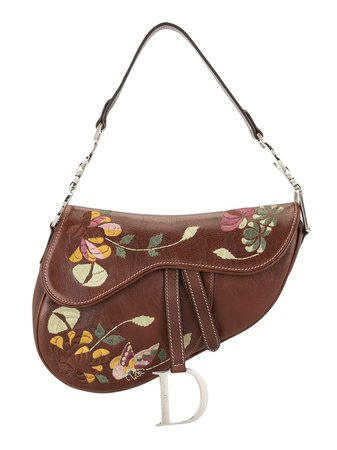 Christian Dior pre-owned Floral Embroidery Saddle Bag - Farfetch