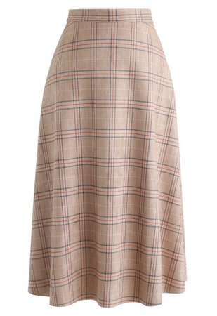 Plaid Faux Suede A-Line Midi Skirt in Tan - Skirt - BOTTOMS - Retro, Indie and Unique Fashion