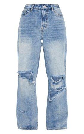 Mid Wash Baggy Low Rise Boyfriend Jeans | PrettyLittleThing